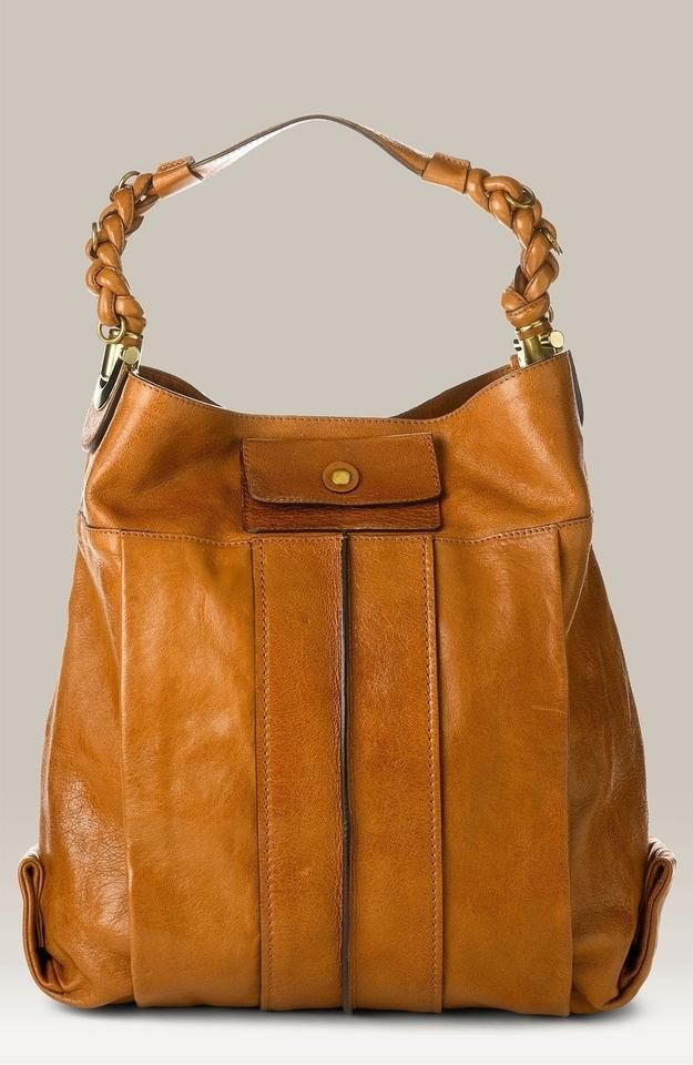 Photo of Chloé Heloise Brown Lambskin Leather Hobo Bag