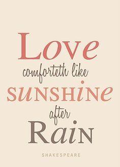 Love Comforteth Like Sunshine After Rain Shakespeare Love