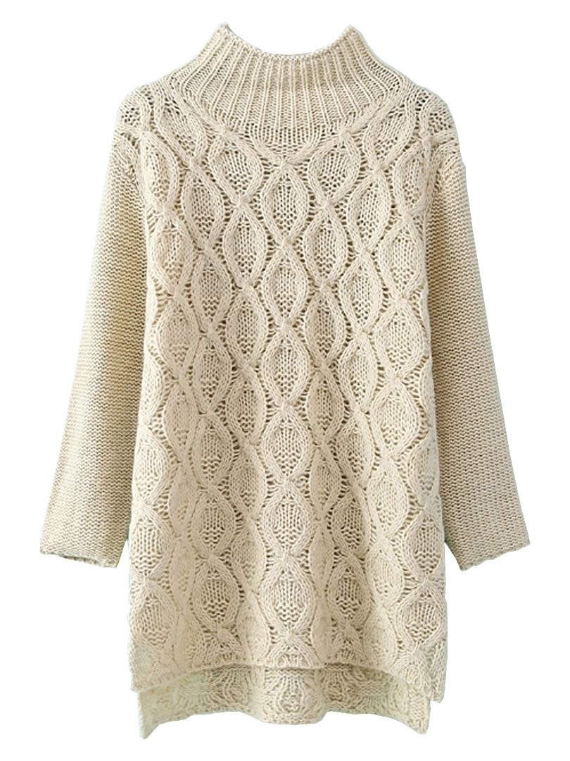 Beige High-low Cable Sweater With High Neck | Choies | mis tejidos ...