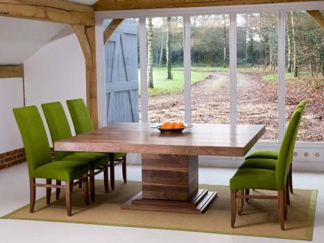 Square Dining Tables In Oak Or Walnut With Extending Flaps