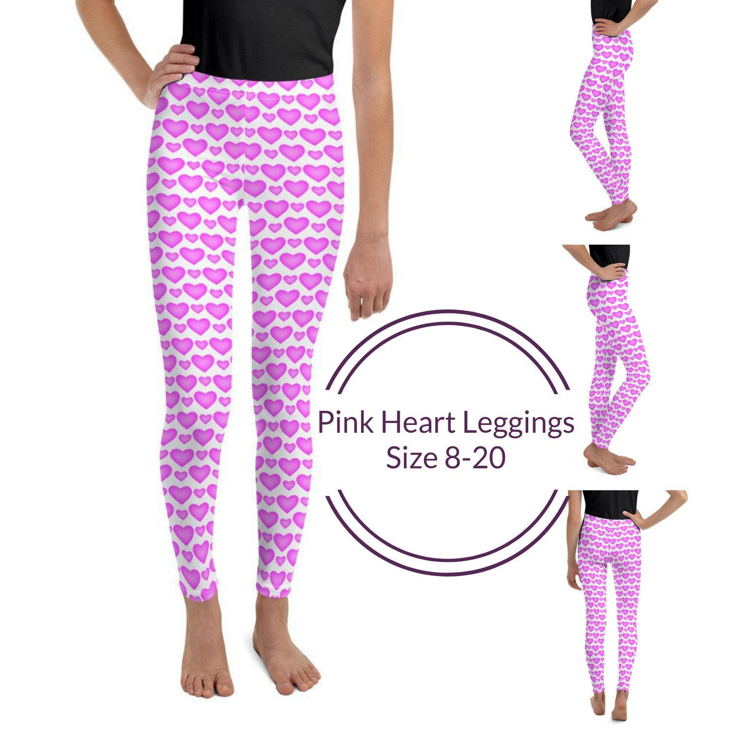97fc2c326473e9 Excited to share the latest addition to my #etsy shop: Pink Heart Youth  Leggings