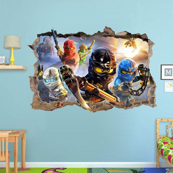 lego ninjago 3d wall sticker smashed bedroom kids decor vinyl
