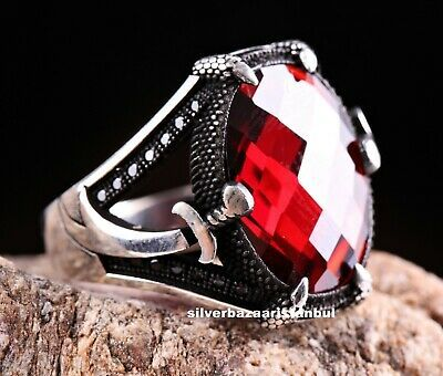 (Ad)eBay Link - Turkish 925 Sterling Silver red ruby stone Mens mans SWORD ring ALL SİZE us #035