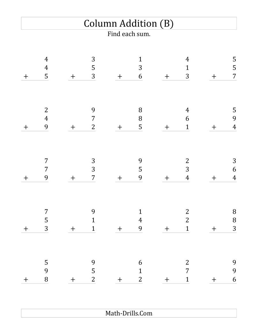 The Adding Three One-Digit Numbers (B) Math Worksheet from the Addition  Worksheet…   Addition worksheets [ 1165 x 900 Pixel ]