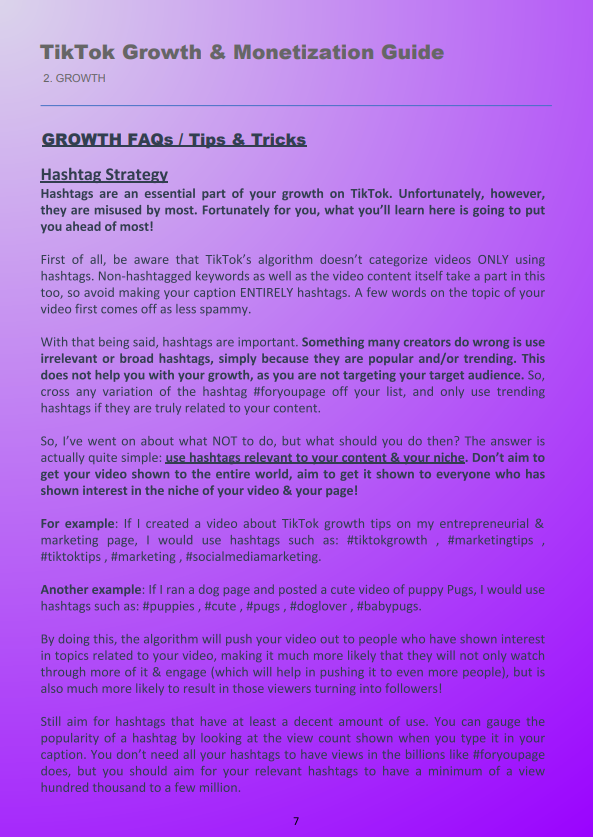 Tiktok Growth Hashtag Strategy How To Start A Blog Online Business E Book
