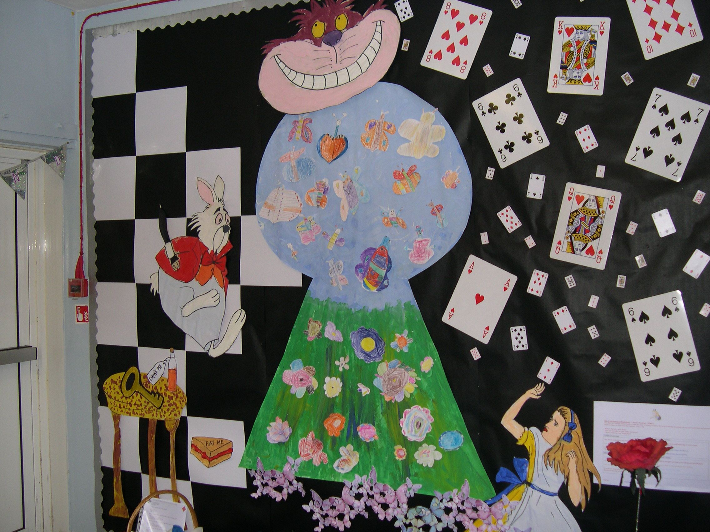 Classroom wall display for Alice in Wonderland