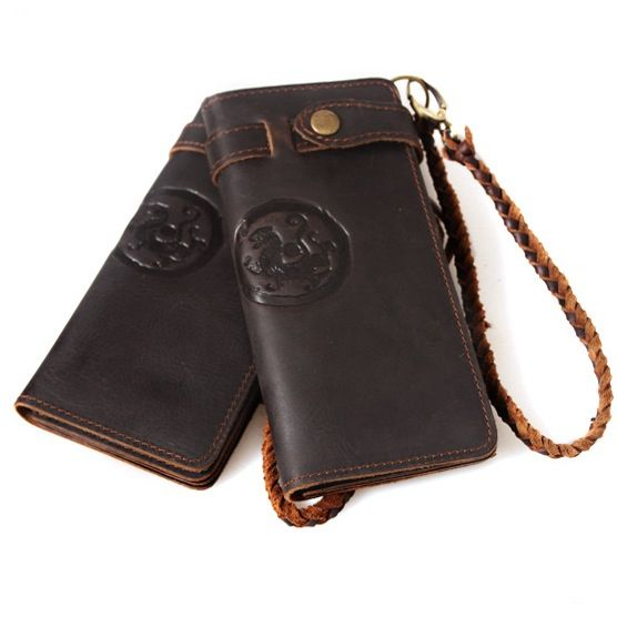 Image of Handmade Antique Crazy Horse Leather Wallet Vintage Tiger Totem Pattern--FREE SHIPPING