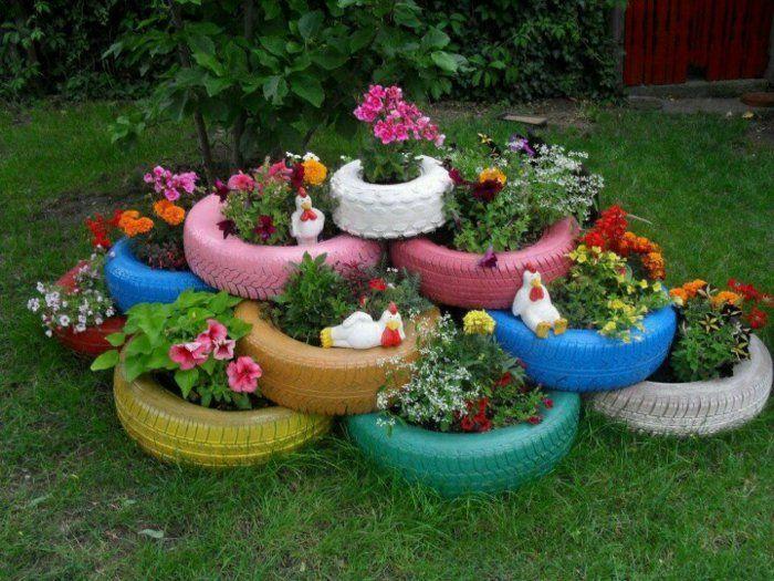 gartendeko selber machen autoreifen wiederverwenden in, Garten ideen