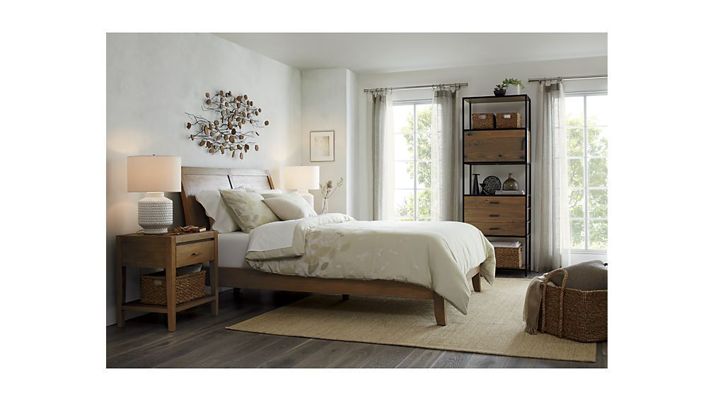 4 Piece Modus Kentfield Solid Wood Bedroom Set: Dawson Grey Wash Sleigh Bed