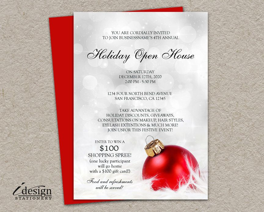 Elegant Business Holiday Open House Invitations | Printable Store ...