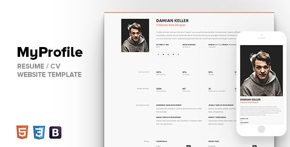 Wonderful Awesome MyProfile   Expert Individual Bootstrap Resume / CV Web Site  Template (Resume /