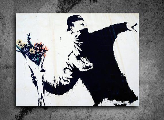 ACEO Banksy Flower Thrower Full Size Graffiti Street Art on Canvas Giclee Print