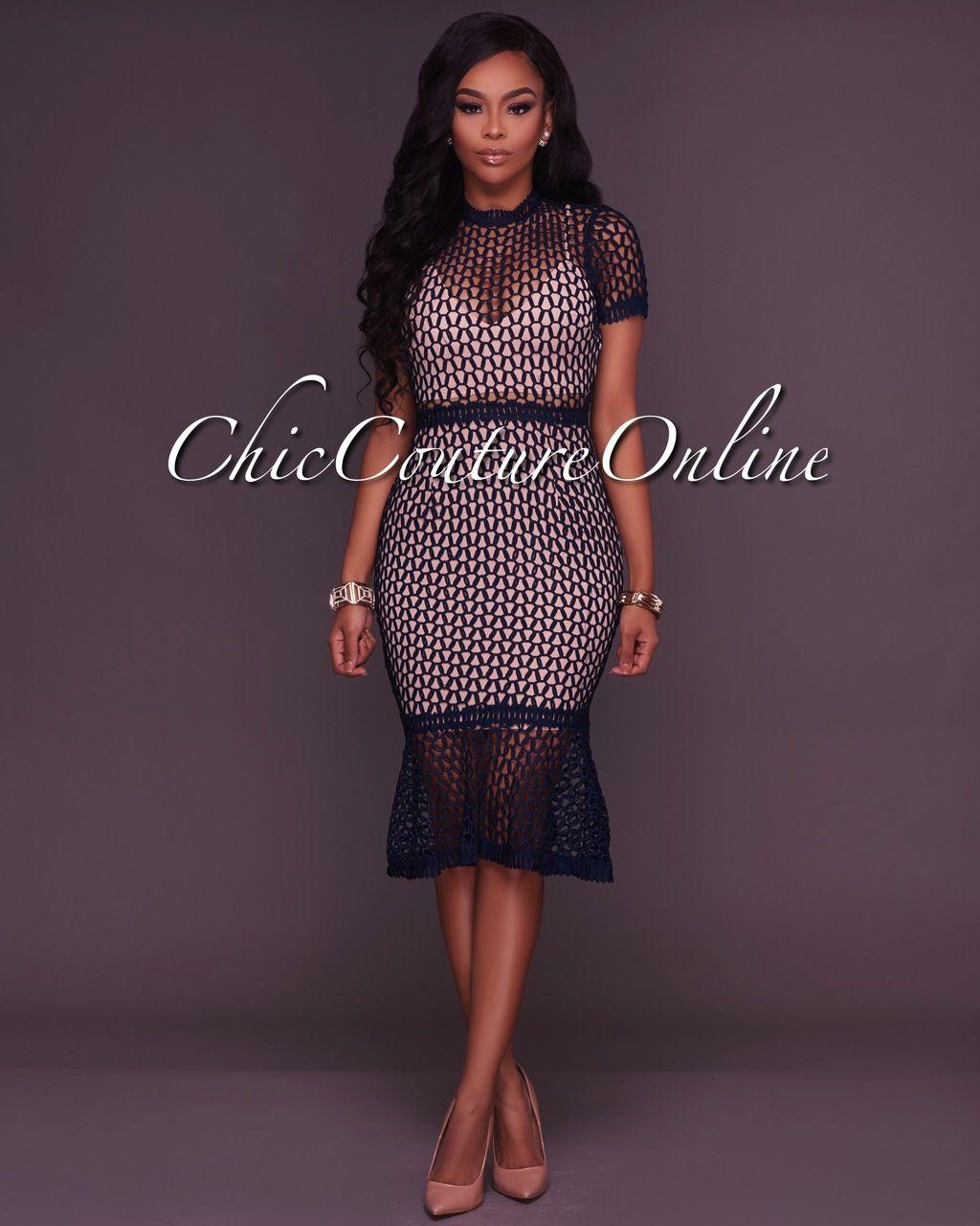 4fe1e0419ce54 Chic Couture Online - Rebekah Navy-Blue Crochet Midi Dress, $70.00 (http: