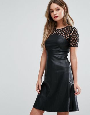 Shop Vero Moda Leather Look Skater Dress With Lace Yoke at ASOS.