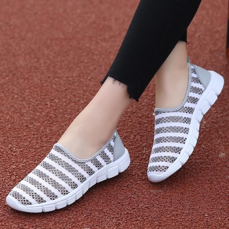 Womens Grey Pink Blue Slip On Pumps Flat Casual Sneakers Comfy Plimsolls Shoes
