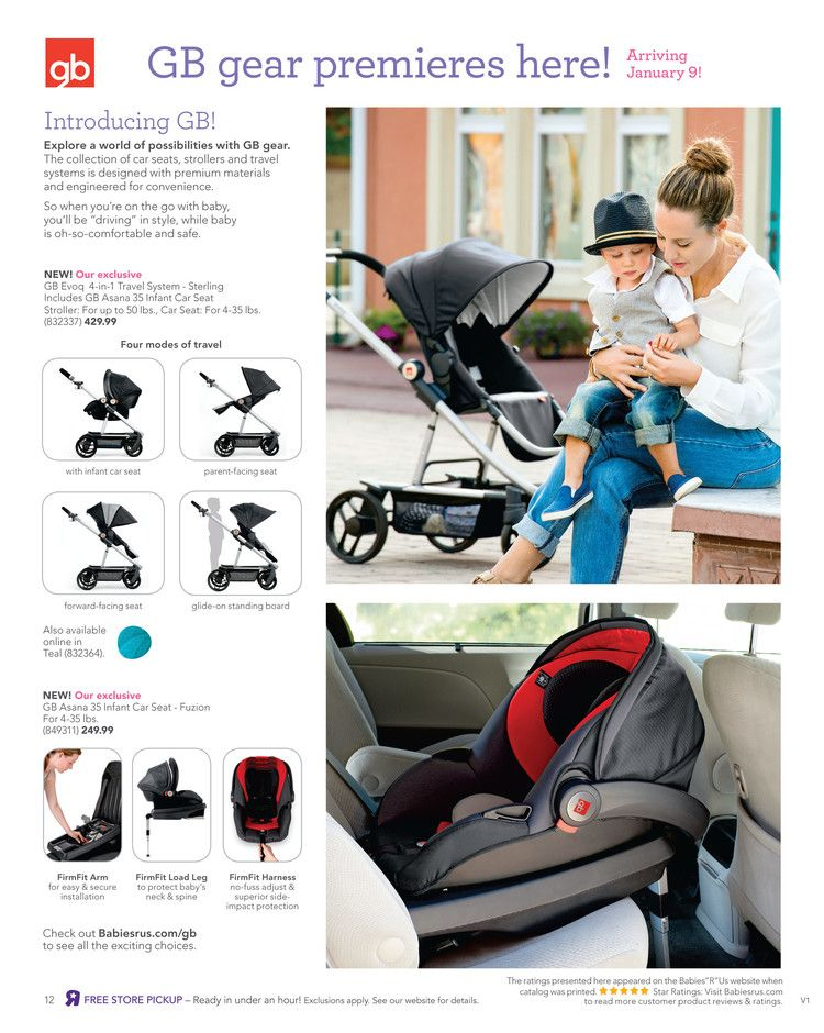 GB Evoq 4in1 Travel System in the Babies R Us catalog.