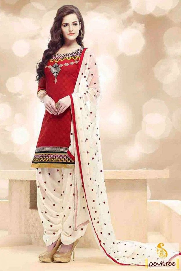 97435ea6149 Costume up yourself with red and white patiala punjabi salwar suit. It is  awesome with trendy butti design on dupatta as well as patiala salwar part.