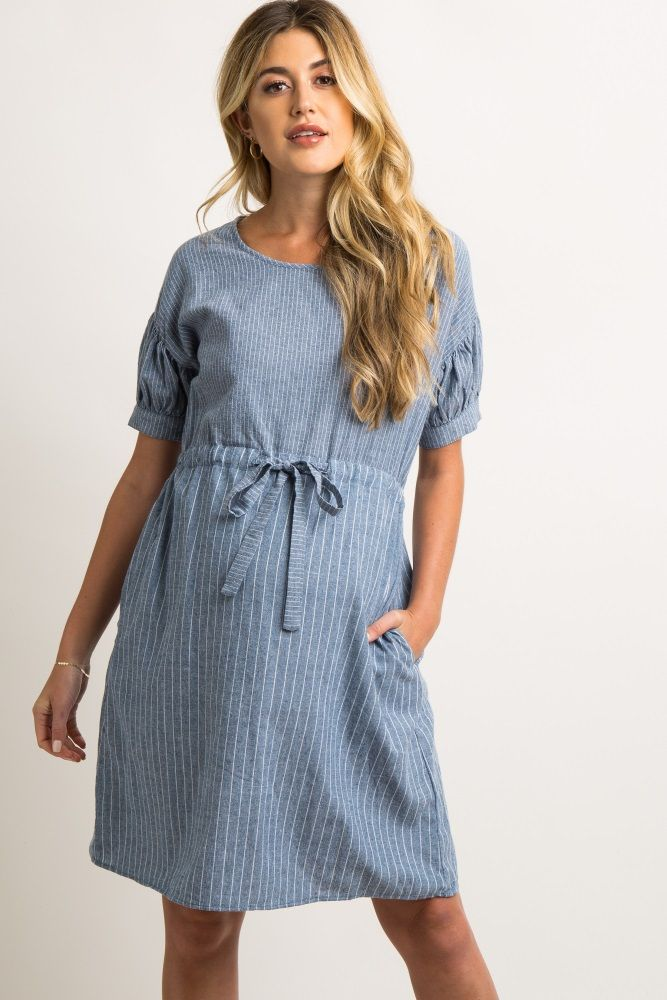 bb003fc558855 Blue Striped Chambray Cinched Waist Maternity Dress in 2019 | Pregos ...