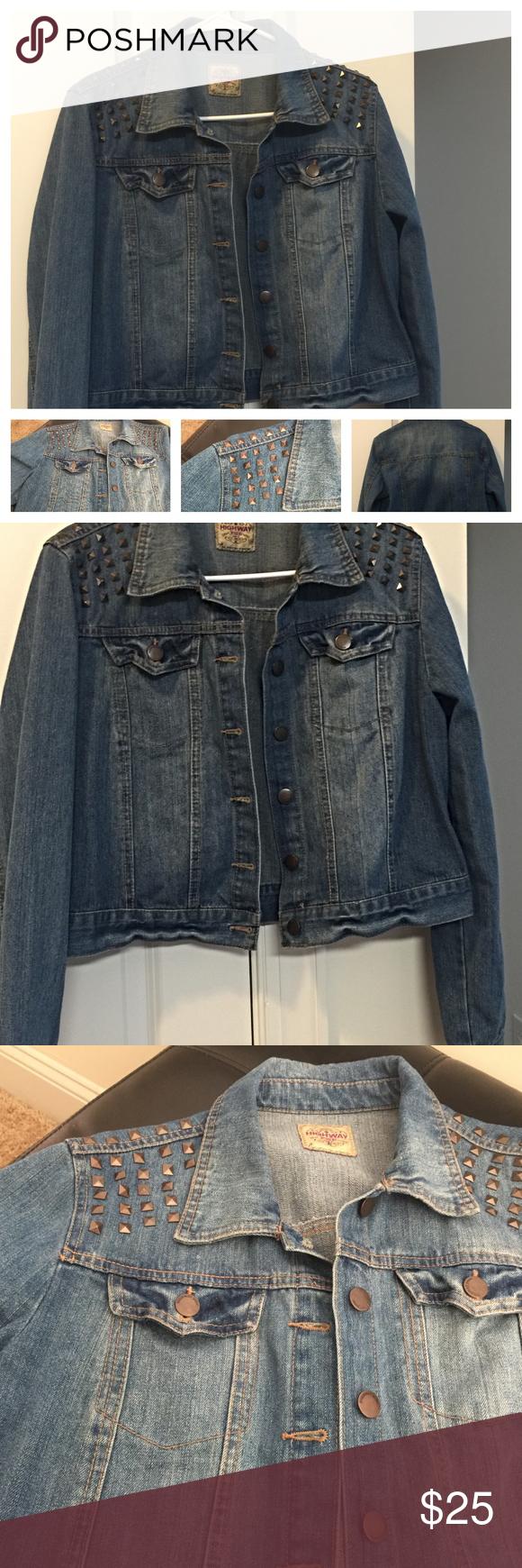 Studded Cropped Jean Denim Jacket Sz Jr Xl Studded Jeans Denim Jacket Denim Jeans [ 1740 x 580 Pixel ]