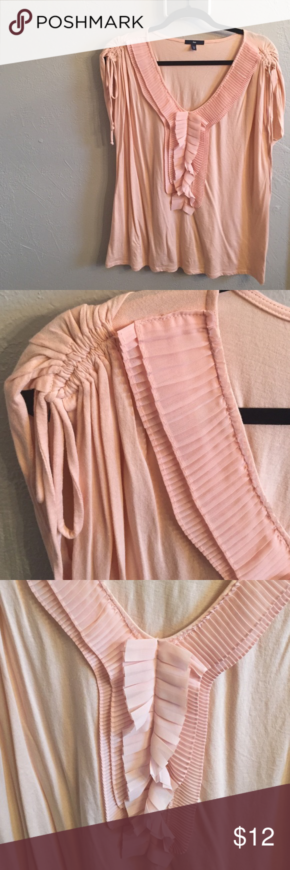 Peach V Neck Embellished Top Peach V Neck Embellished Top. Size XL. Brand Gap. Chiffon pleats GAP Tops Blouses