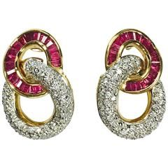 Ruby and Diamond Yellow Gold Door Knocker Style Earrings