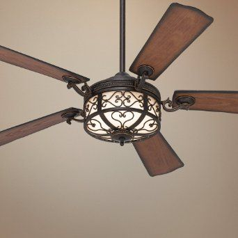 "54"" hermitage™ golden forged outdoor ceiling fan - rustic ceiling"