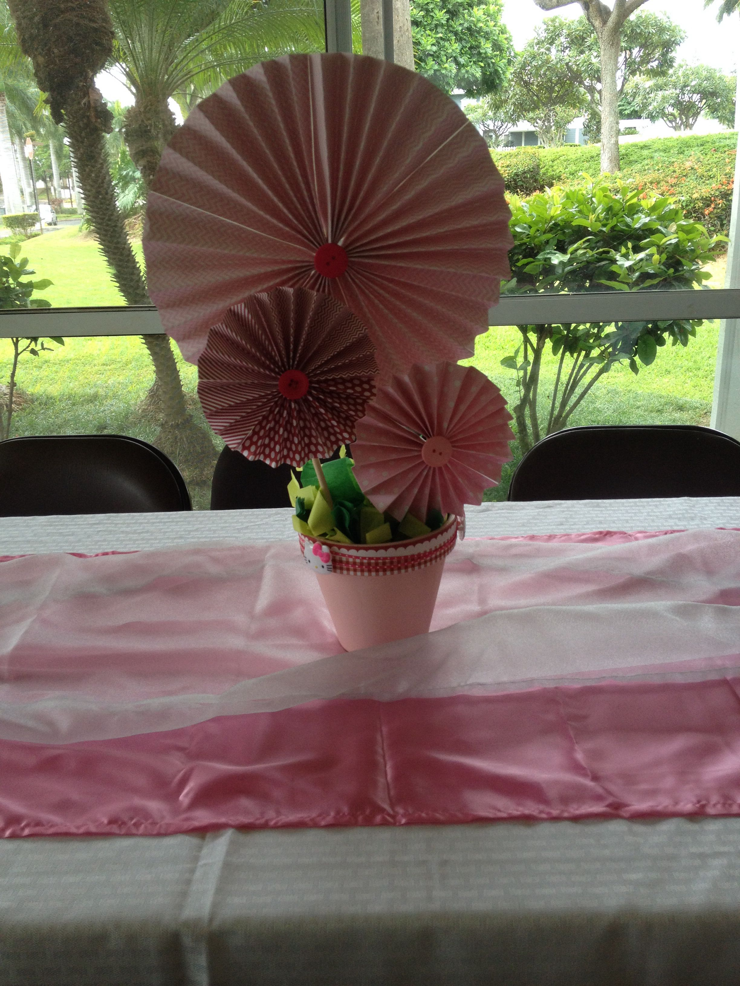 Windmill Looking Centerpiece For Pink Hello Kitty Baby Shower
