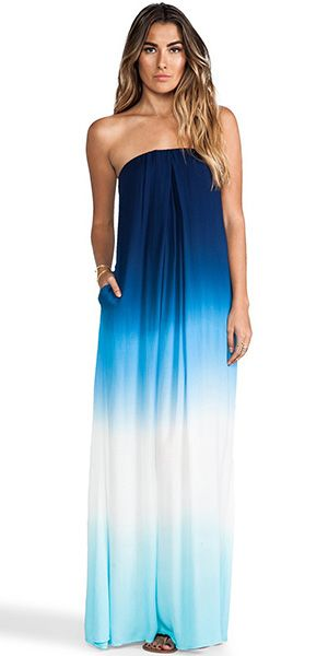 Sexy Strapless Color Gradient Maxi Dress