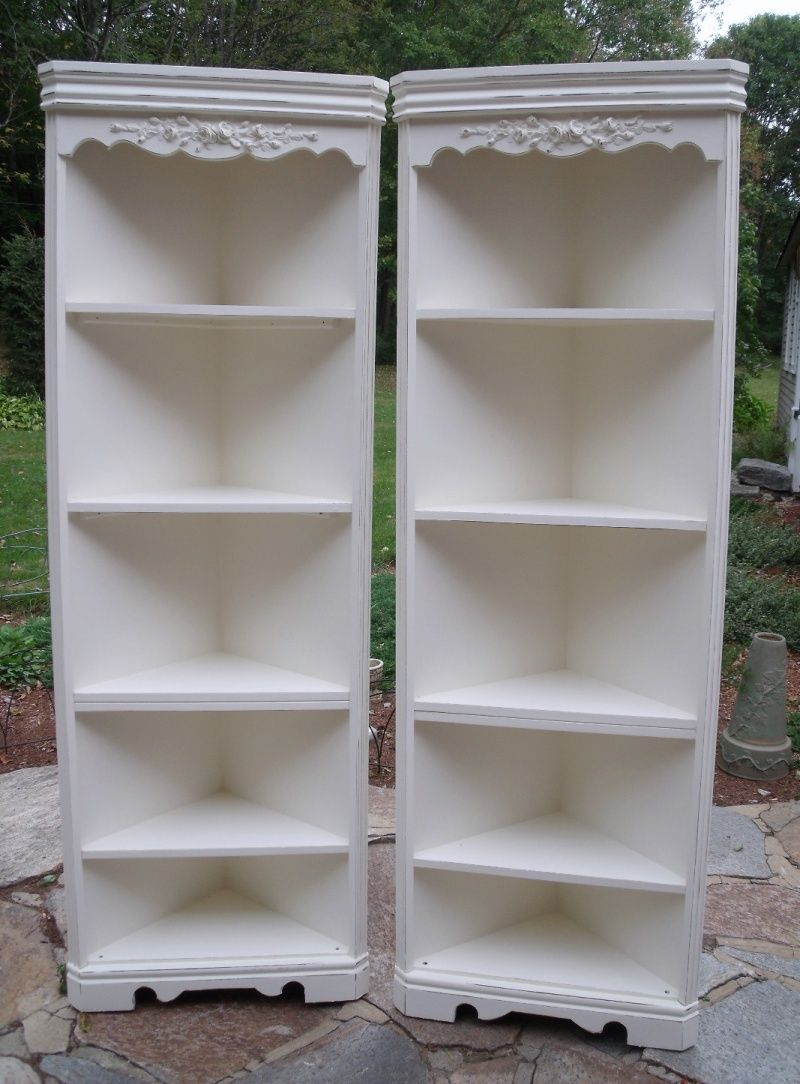 Set Vintage French Country Corner Cabinets Painted White