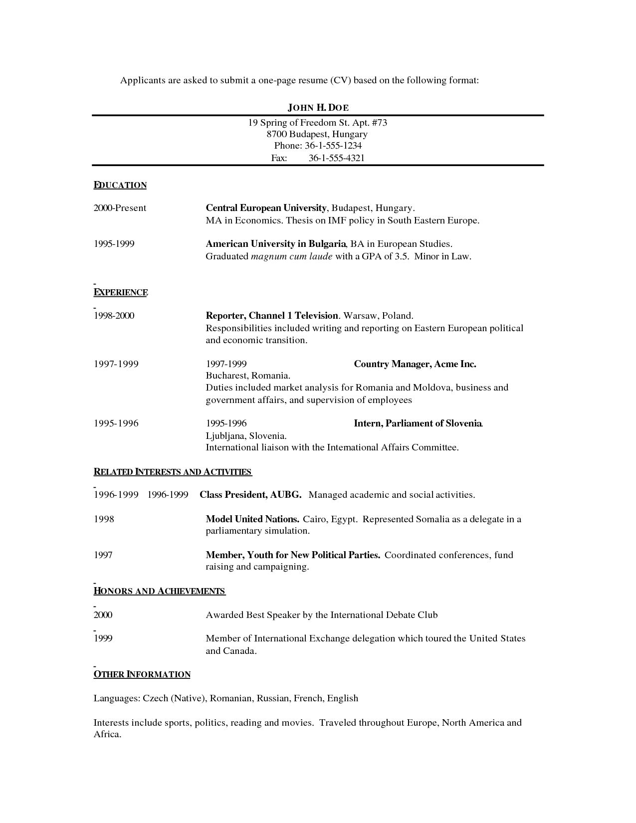 Format For Job Resume Simple 1 Job  Template Job Resume And Free