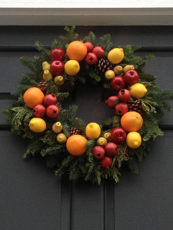 Williamsburg Wreath Using Fruit Beautiful Decorations Christmas Door