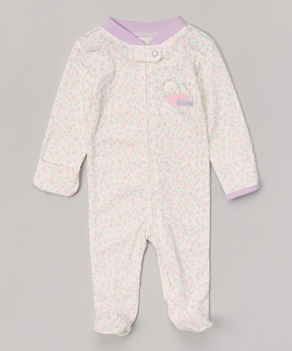 Ivy & Purple Sleeping Cutie Appliqué Footie - Infant by Vitamins Baby #zulily #zulilyfinds