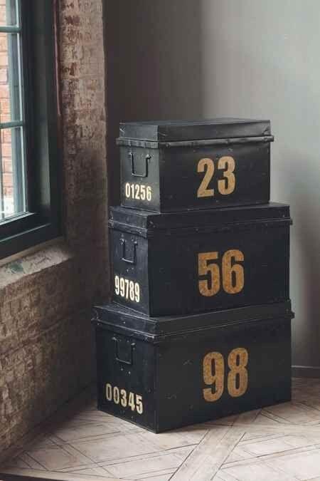 Vintage black metal trunks $500