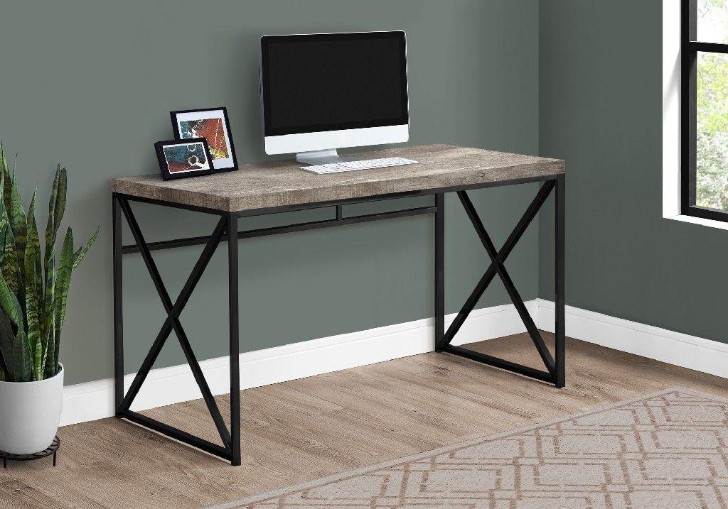 60 L//Brown Reclaimed Wood//Black Metal Monarch Specialties Computer Desk
