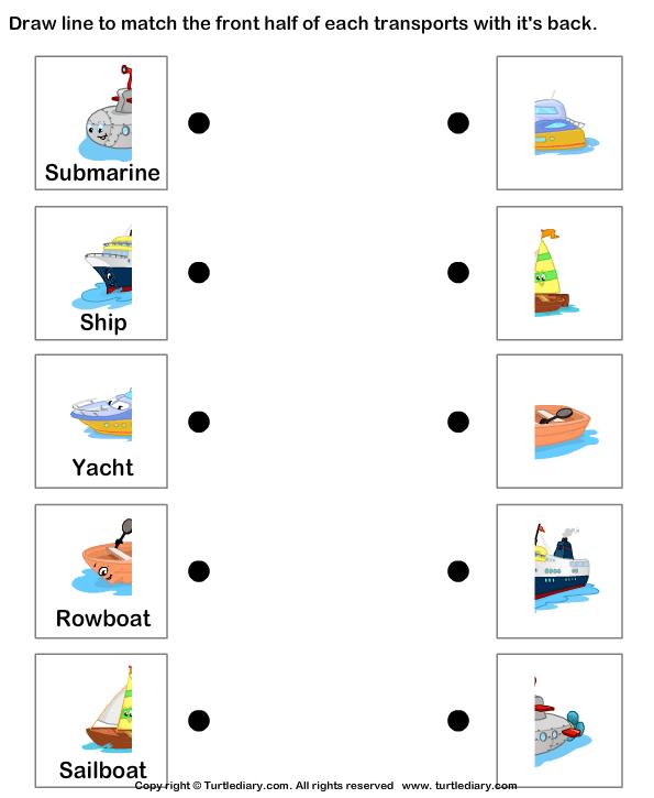 Water transport match the parts October Craft – Transportation Worksheet