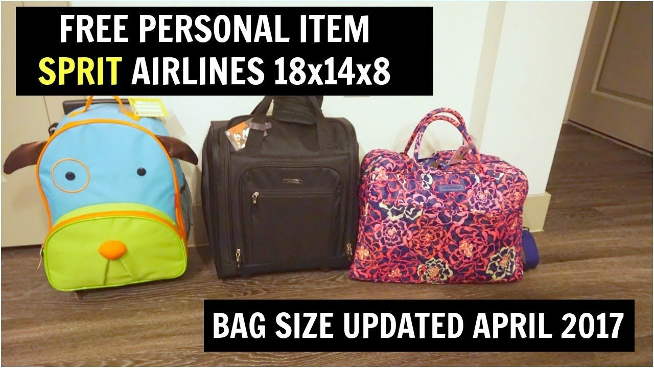 04c10f1654 FREE PERSONAL BAG SPIRIT AIRLINES - APRIL 2017 - 18x14x8