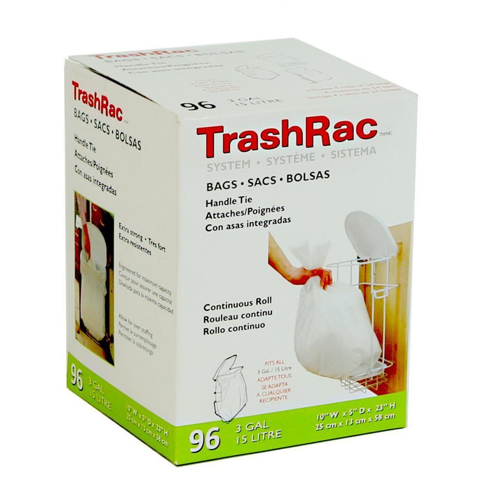 Trashrac 3 Gal Trash Bags 96 Count 4 Rolls Of 24 Bag Trash Bag Kitchen Waste Home Depot