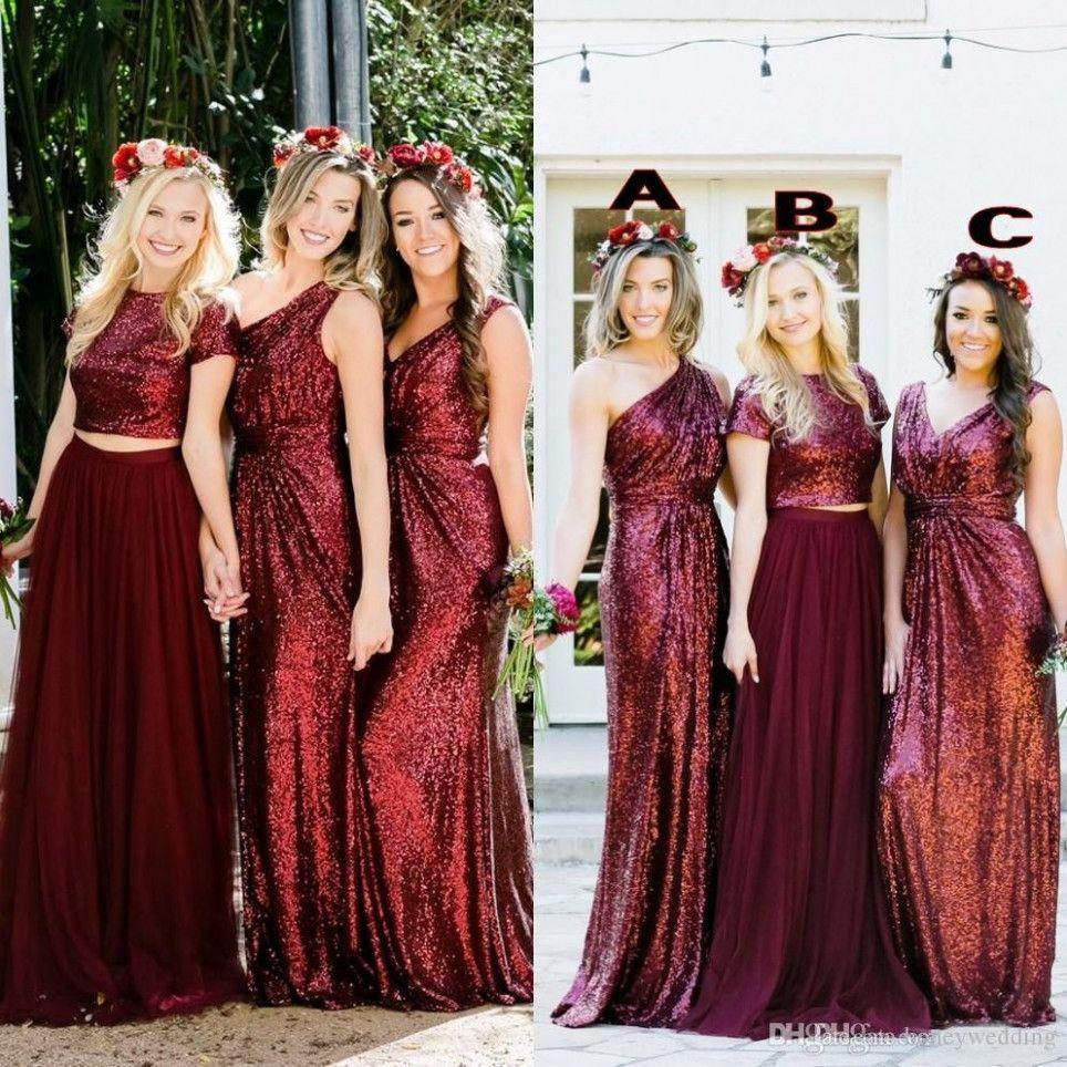 5 Kleid Weinrot Hochzeit in 5  Brautjungfernkleider lang