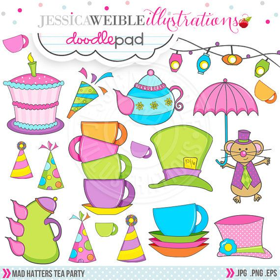 Mad Hatter's Tea Party Cute Digital Clipart - Commercial Use OK - Tea Party Graphics - Mad Hatter Clipart
