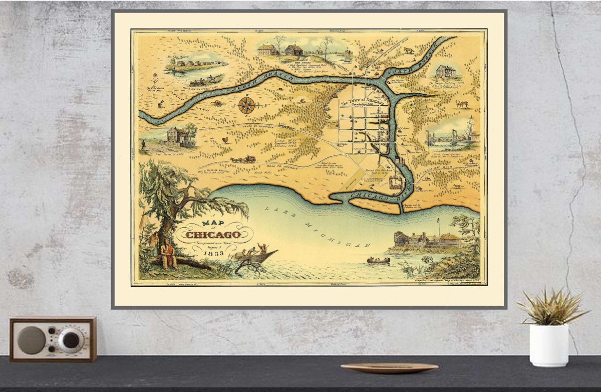 Map of Chicago, Vintage Chicago Map, 1833 Chicago Map, Map Wall Art ...