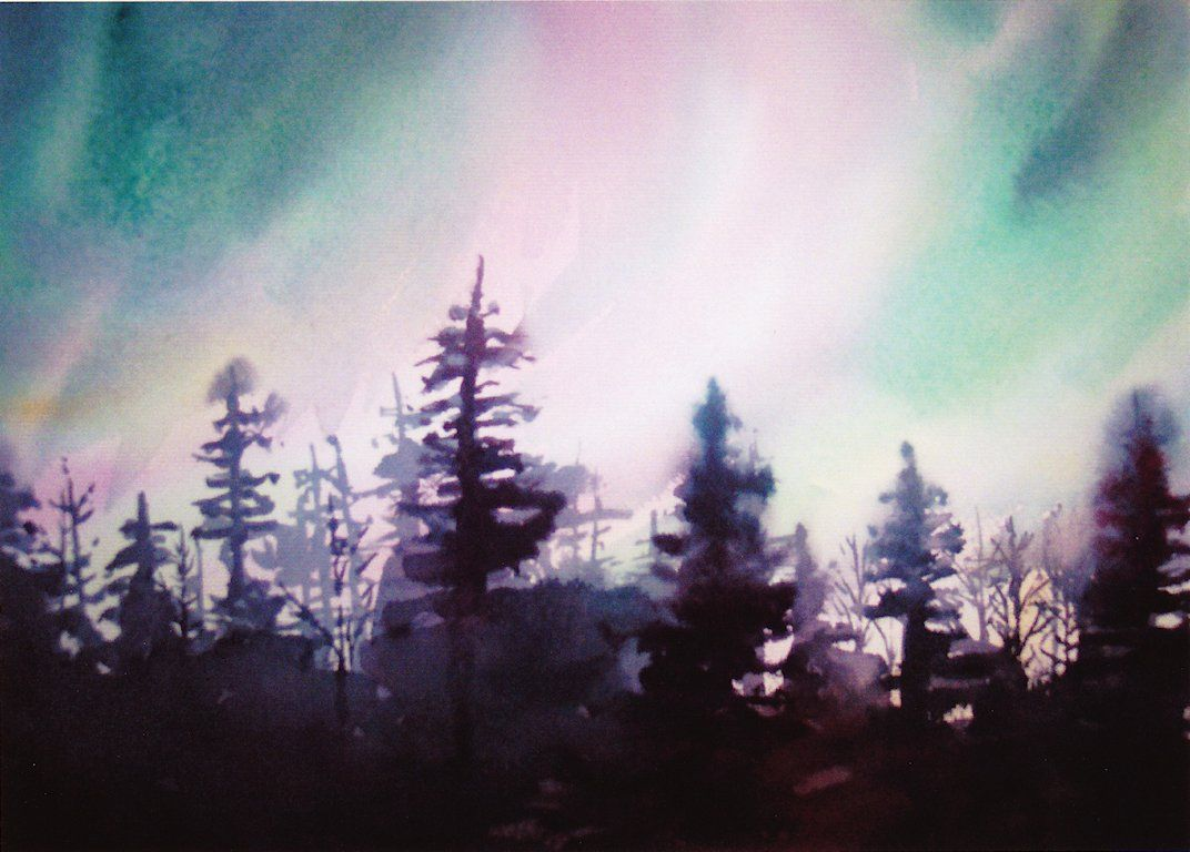 northern lights watercolor   232 Northern Lights (Watercolor)