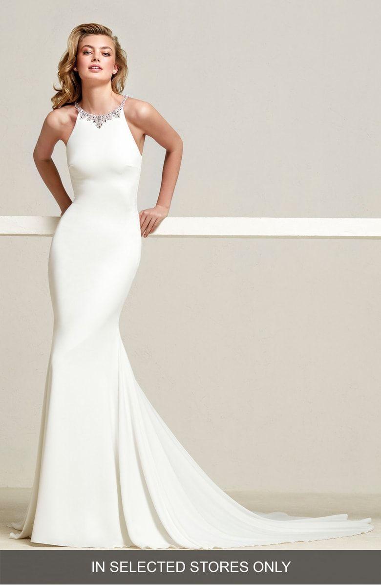 Dreba jeweled back crepe mermaid gown main color off white