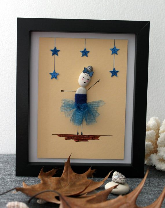 Theme of the handmade decoration: Dancing with the Stars - Ballerina Dream and dance for a happy life. Get this piece to add a touch of warm into your home or give it as a gift. A ballerina dancing with the stars. A cool gift for your friends!  Unique gift: This Pebble Art piece is the perfect #dancingwiththestars