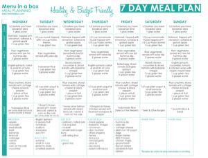 sample meal plan for diabetes