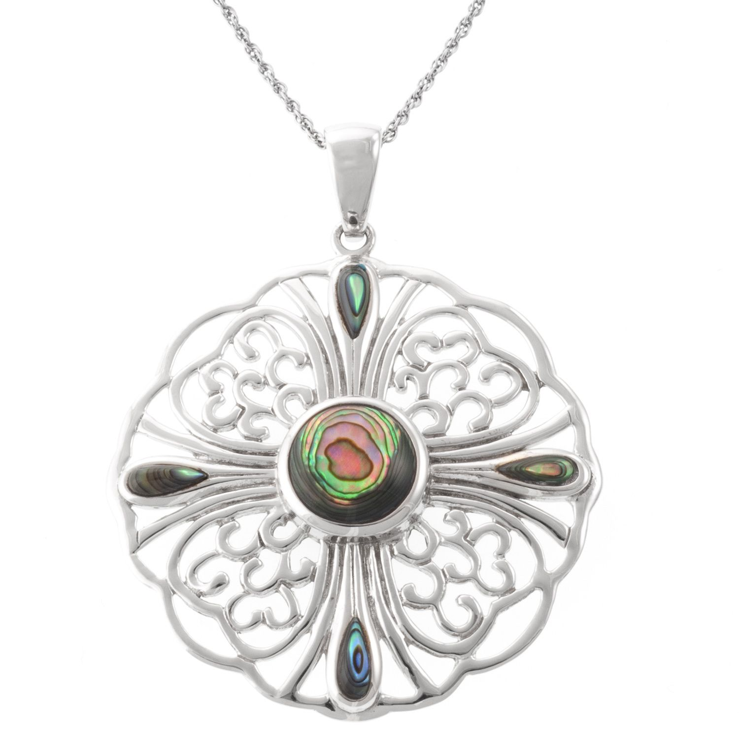 Athra luxe collection sterling silver filigree motif flower pendant