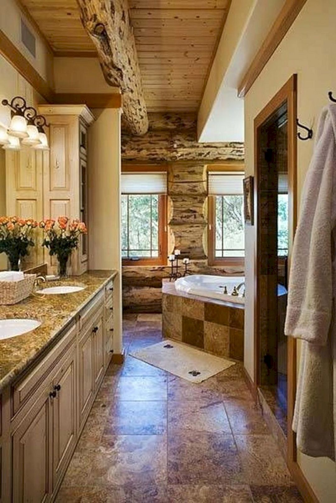 30+ Beautiful Rustic Bathroom Design Ideas You Should Have It #rusticbathroomdesigns