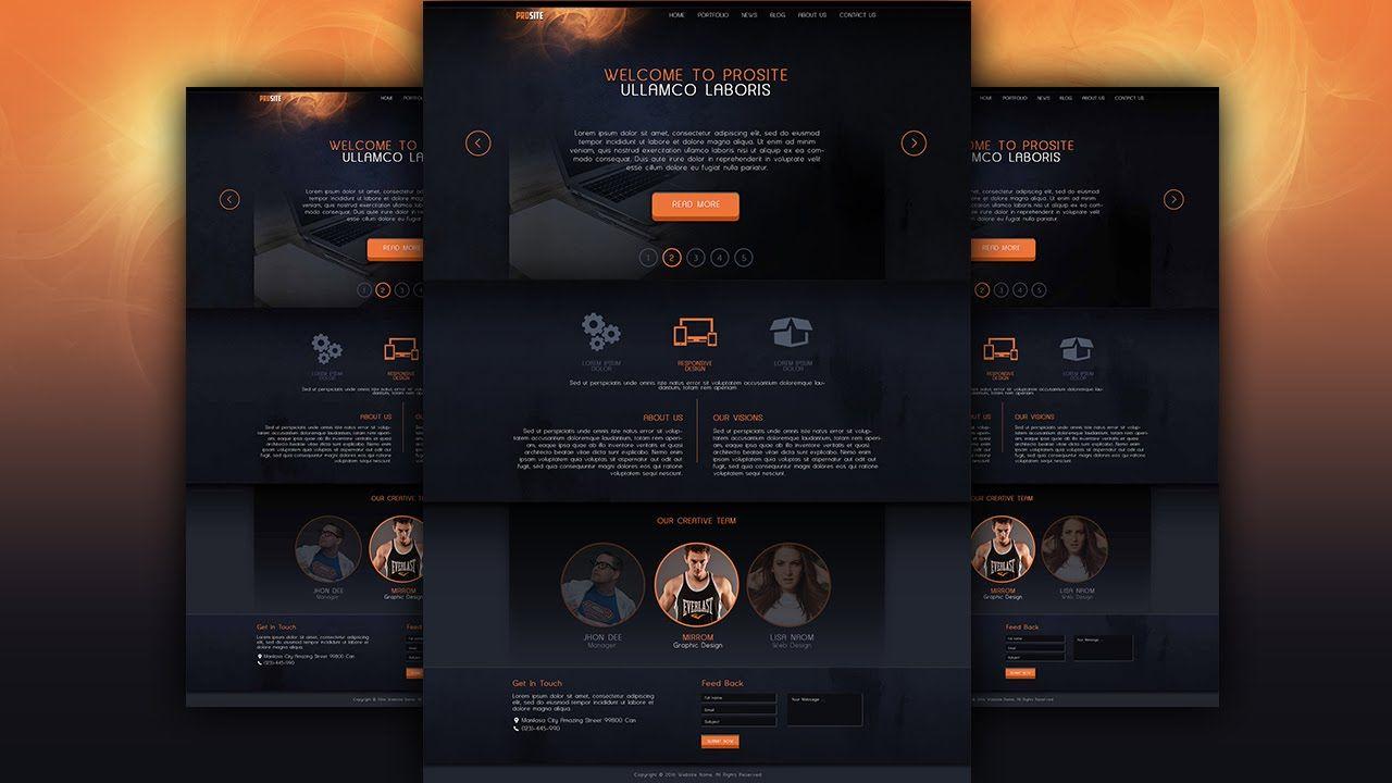 Make A Dark Style Website Design Photoshop Tutorial Photoshop Design Website Design Photoshop Tutorial