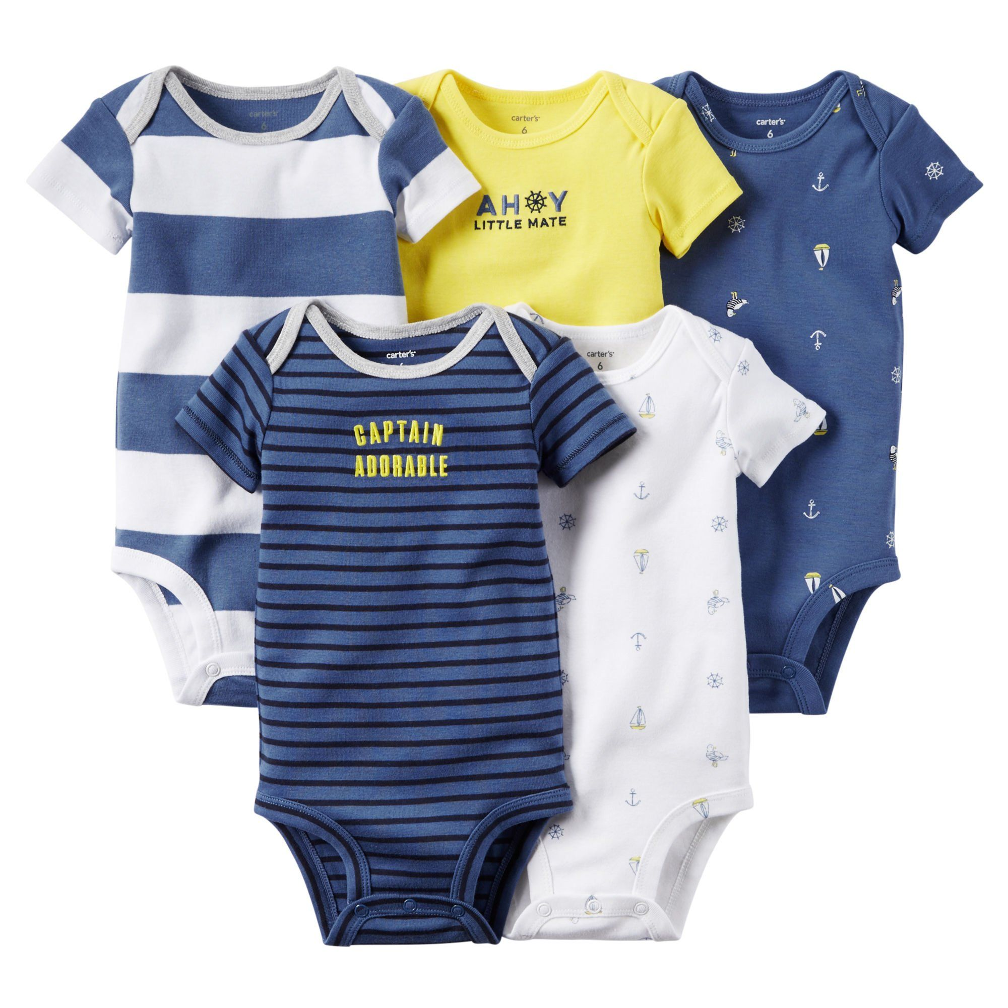 Amazon Carter s 5 Pack Bodysuits 126g119 Stripe Anchor 6