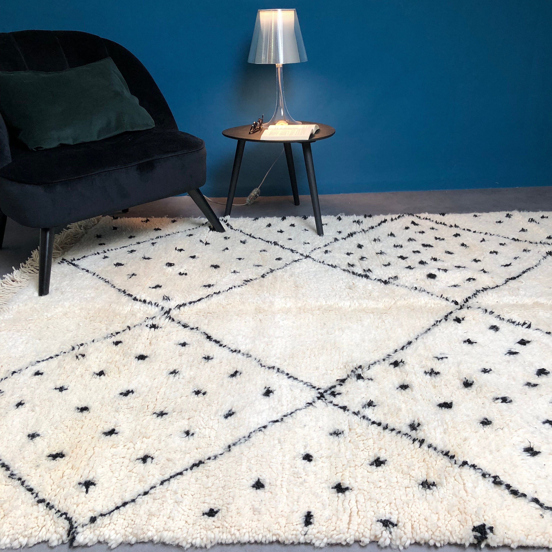 Tapis Beni Ouarain Noir tapis beniouarain, neuf en 2020 | tapis, tapis blanc et