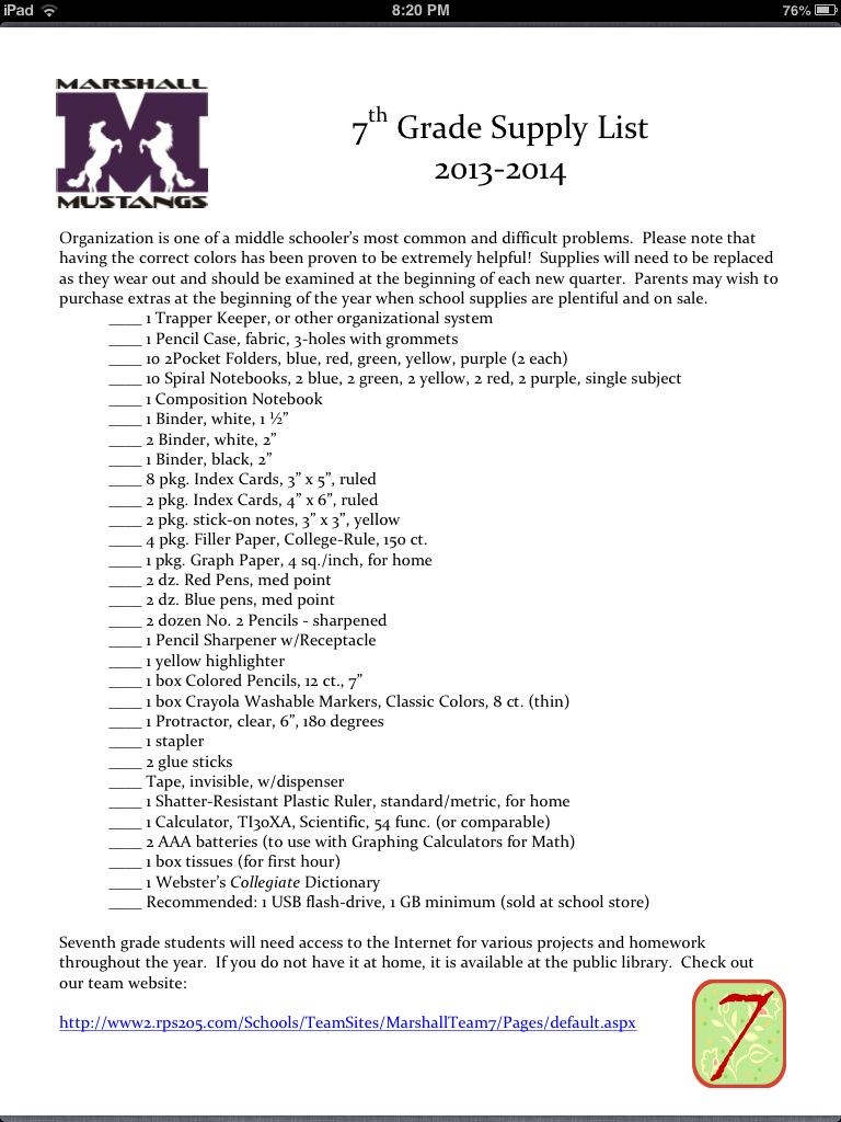 My school supply list 7th grade | My next big project | Pinterest ...
